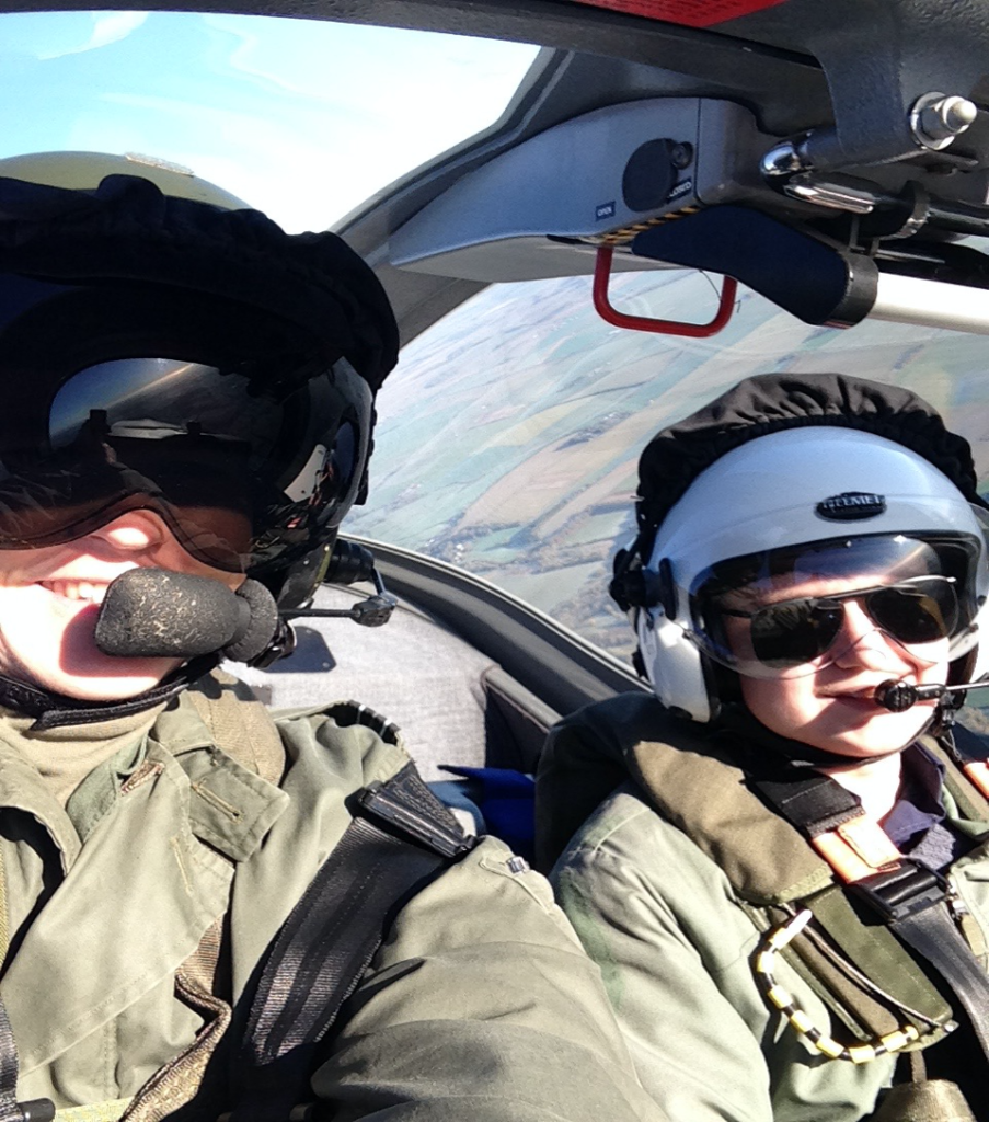 Hickson and 'Emily' flying a fast jet above the British countryside