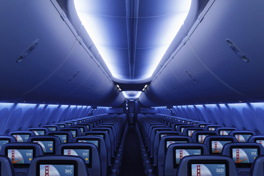 United Airlines' Boeing 737 MAX 8 Interior includes LED lighting and in-seat IFE from nose to tail