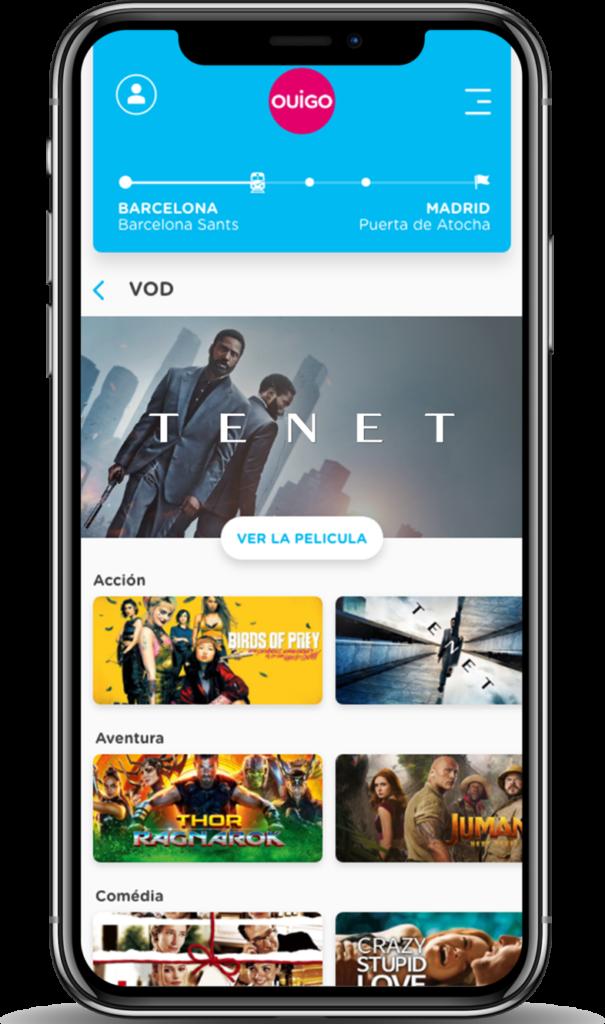 Un dispositivo móvil que muestra muchas de las películas disponibles en Ouigo.