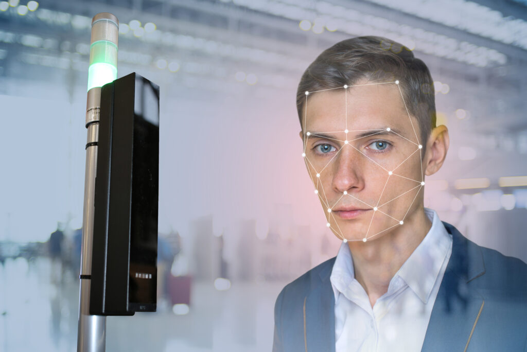 Biometric verification of man's face