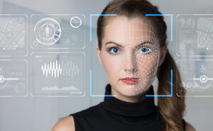 A woman's face is scanned