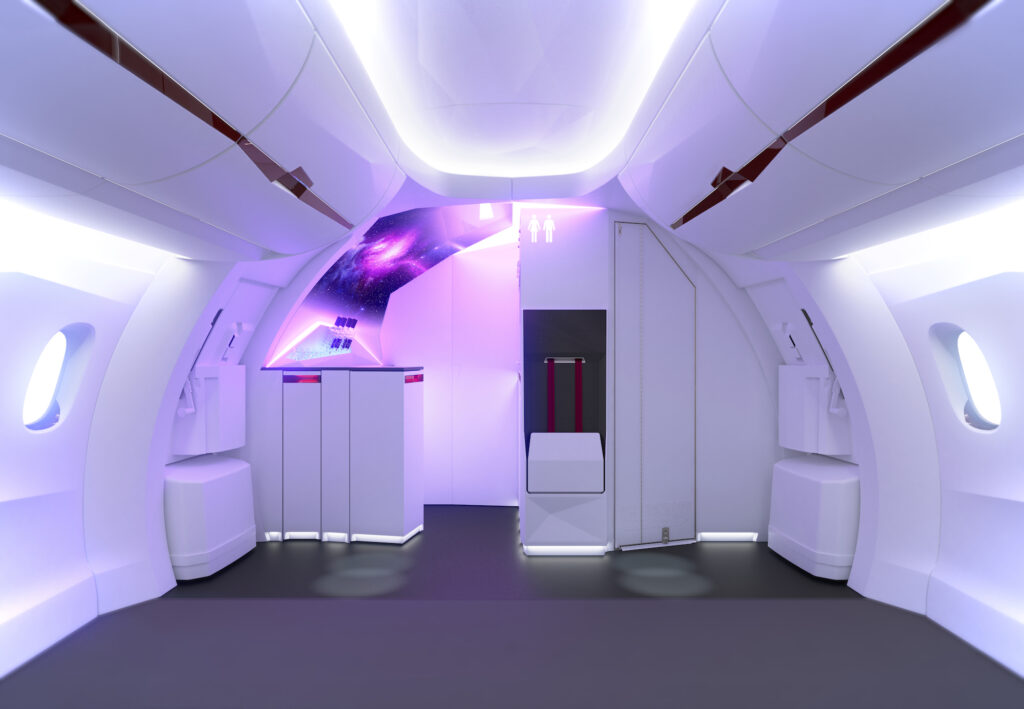 Mockup of a cabin interior without seats, but with Diehl's Sylvia front-of-cabin concept basked in purple LED lights
