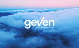 Soft blue clouds with a pink sky above. The word Geven is at the forefront of the image in the centre.