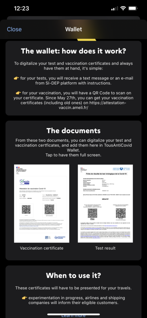 A screengrab of how the wallet works, instructing users in how to digitalize their test and vaccine certificates
