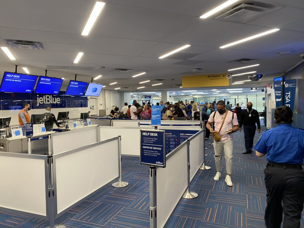 People boarding at the gate for a JetBlue flight in Marine Air Terminal (MAT) at LaGuardia.
