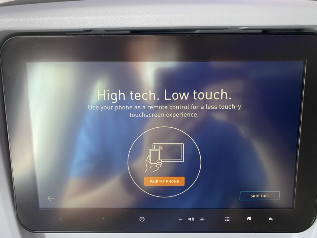 The JetBlue IFE system, touting the ability to use your smartphone as a remote control