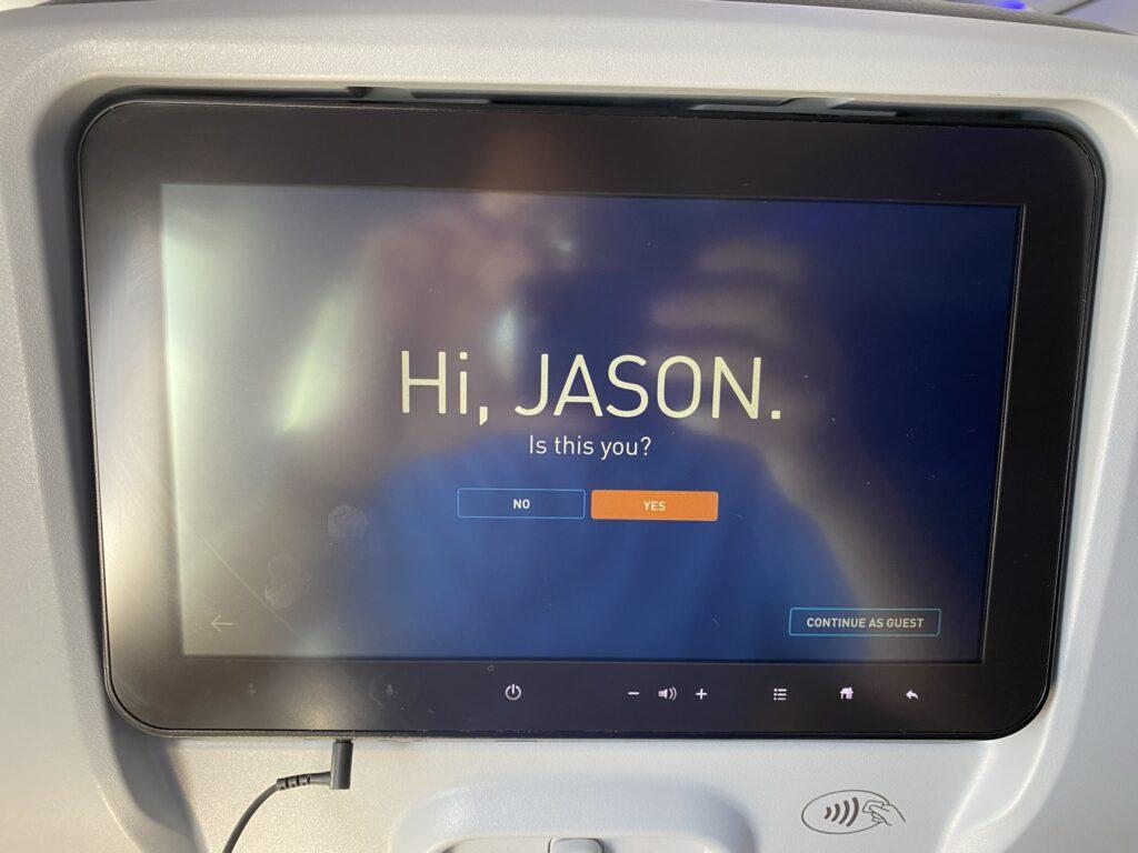 "Thales Avant JetBlue seatback IFE screen. The display says ""Hi Jason""."