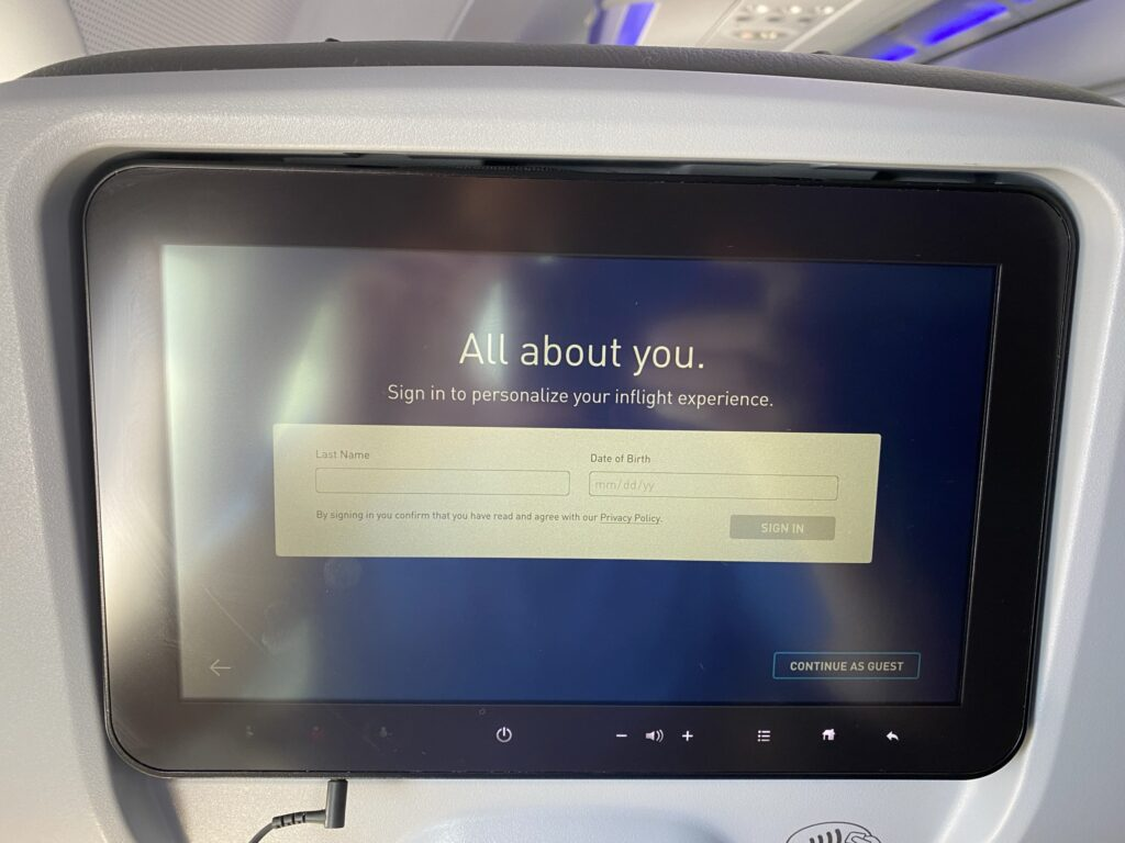 JetBlue IFE system prompting the flyer to answer some personal questions.