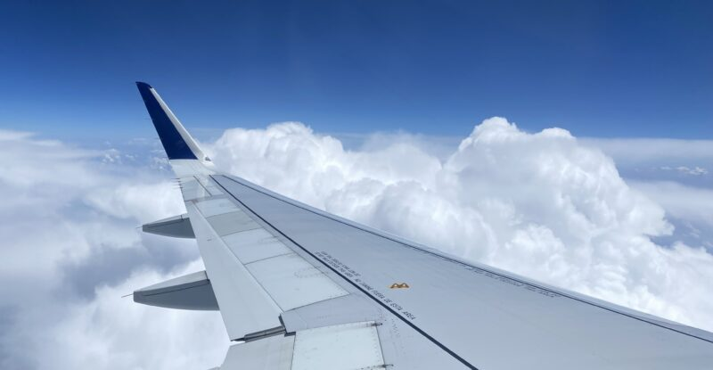 The wing of a JetBlue A320