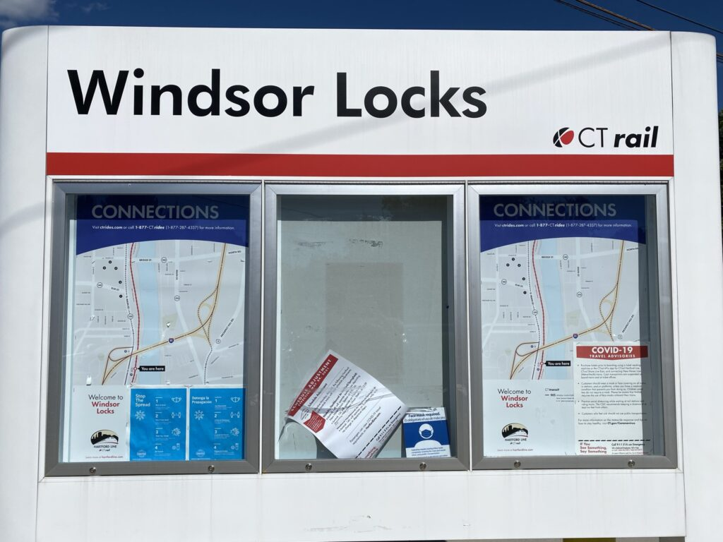 Windsor Locks station sign displaying route maps.