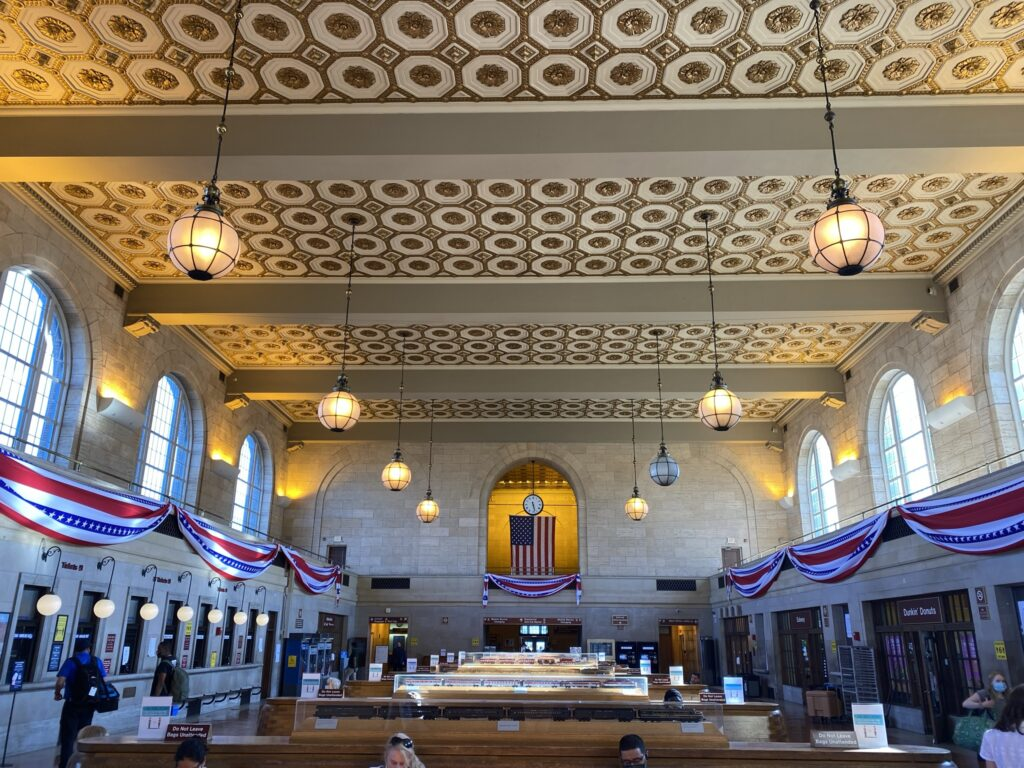 New Haven rail station. Large open space with a art deco ceiling.