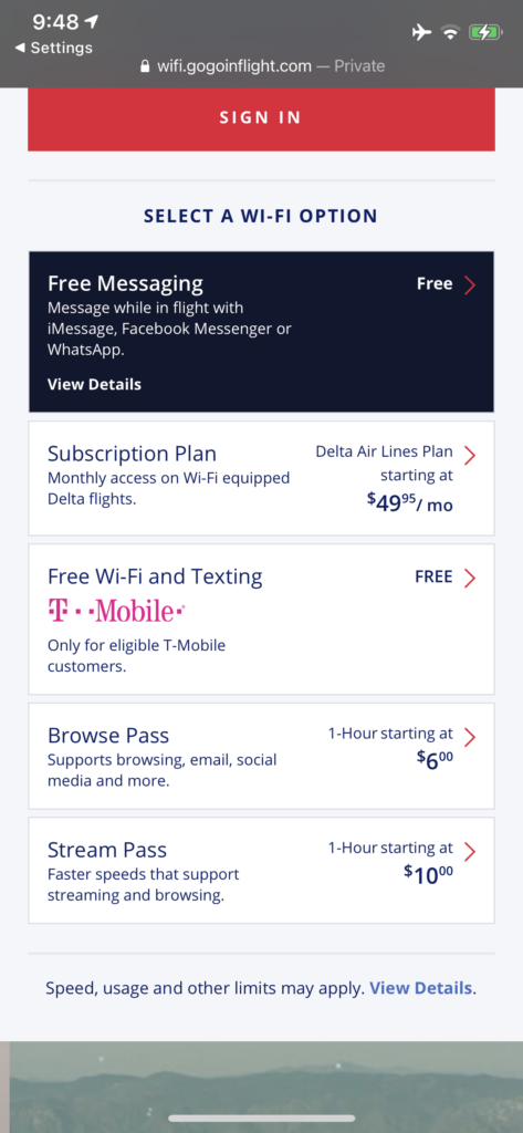 Screenshot of Delta's Wi-Fi pricing on the 737-900ER
