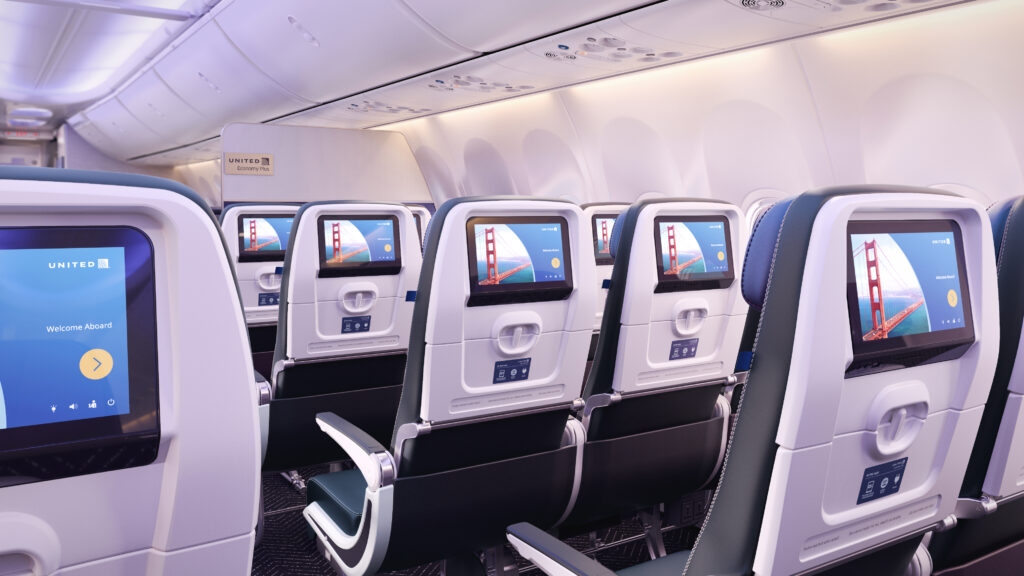 A rendering of United Airlines' new seatback IFE product, showing sleek screens