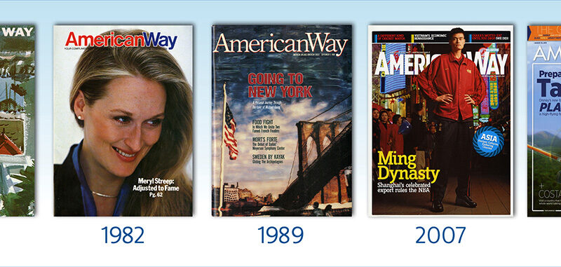 Various covers of American Way inflight magazine over the past decades.