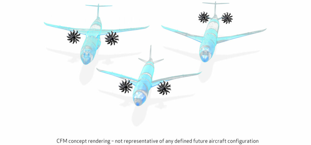 A computer drawing of 3 generic aircraft representing airframe integration.