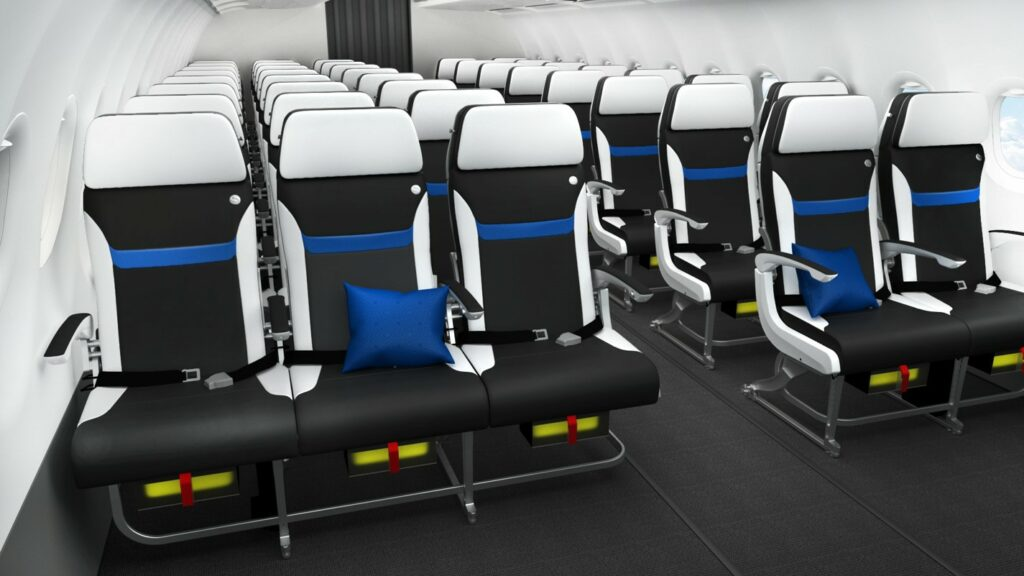 Safran Seats Z110i in a 3-2 configuration. Black seats with white trim and headrest. A blue line near the centre back.