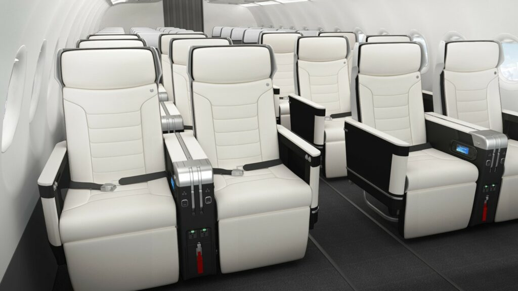 Safran Seats' Z600 in a 2-2 configuration on an aircraft. Seats are in all white with black trim.