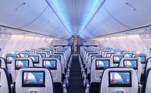 A rendering showing rows of seats with seatback IFE on board the 737 MAX 8