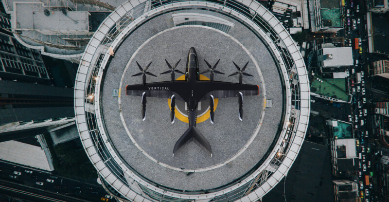 Vertical Exterior Helipad with eVtol aircraft landed. Image provided by Avolon and Vertical Aerospace