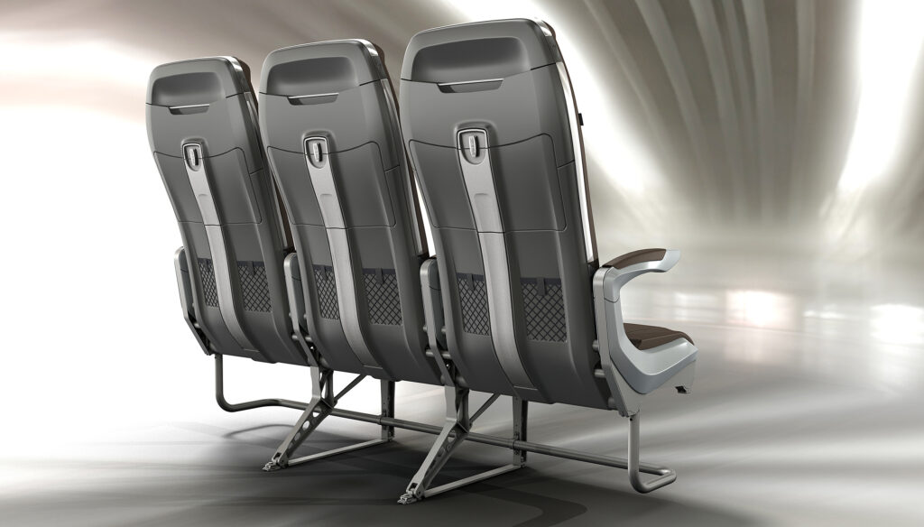 """A seat triple of the ZIM economy class seating, which looks very """"premium"""""""