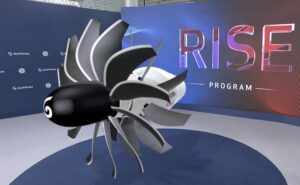Screenshot of a digital version of the RISE open-fan with RISE logo in the background.
