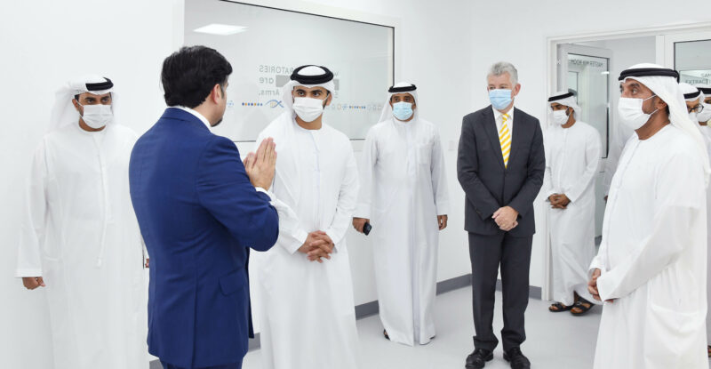 His Highness Sheikh Mansour Bin Mohammed Bin Rashid Al Maktoum and His Highness Sheikh Ahmed Bin Saeed Al Maktoum were shown around the laboratory following its inauguration on Tuesday afternoon. Image: Dubai Airports
