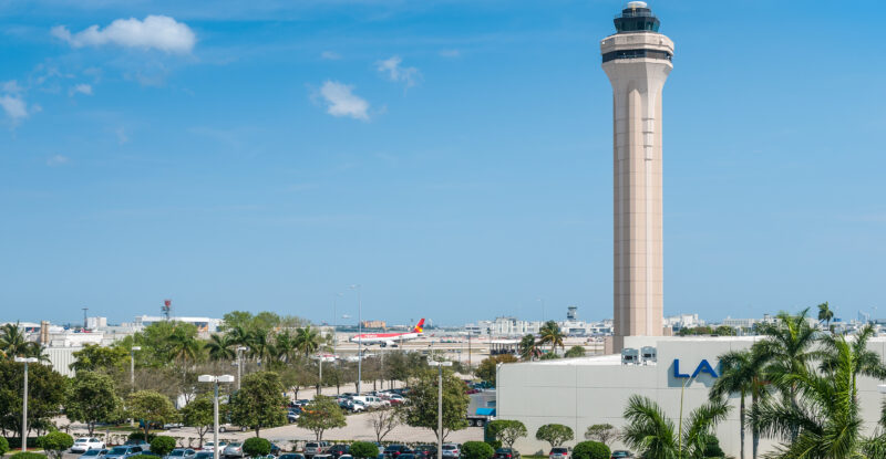 Miami International Airport Air Traffic Control Tower on a sunny day
