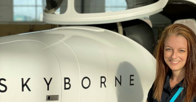 Vicky Gould with one of Skyborne's DA42 training aircraft