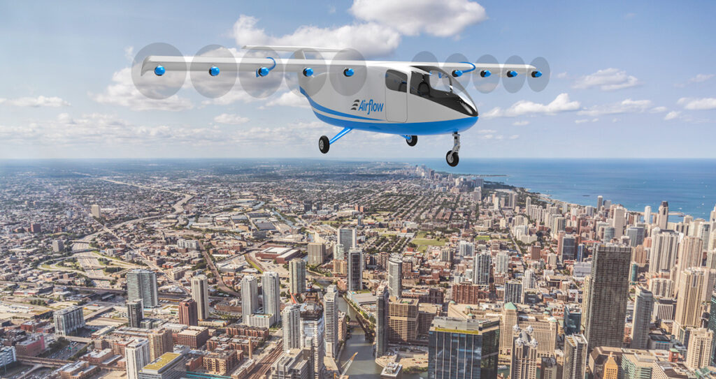 A rendering of the Airflow aircraft. It features a distributed propulsion system that turns ten small propellers for reduced noise.