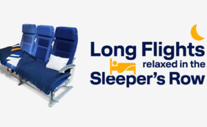 """Lufthansa blue aircraft seats with a pillow on the, Next it it the words"""" Long flights relaxed in the sleeper's row"""