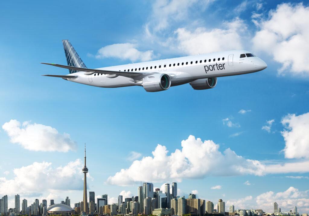 Porter Airlines E195-E2 in flight over Toronto, Ontario.