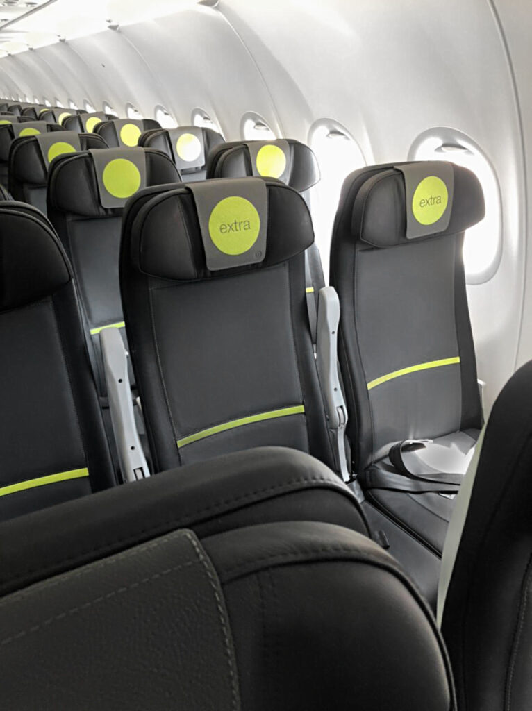 Essenza seat with black and green by Geven for S7 Airlines