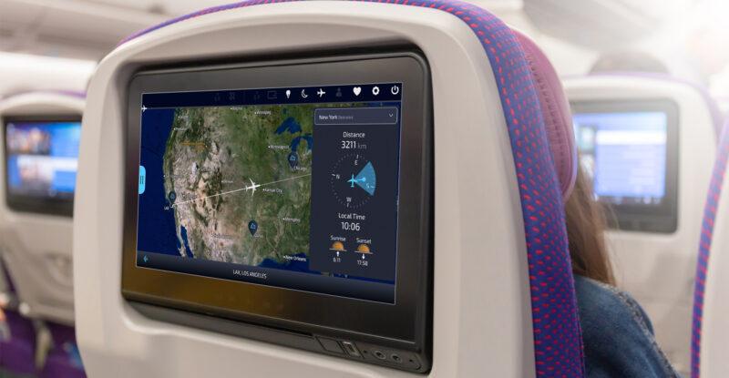FlightPath3D map on a seatback IFE screen