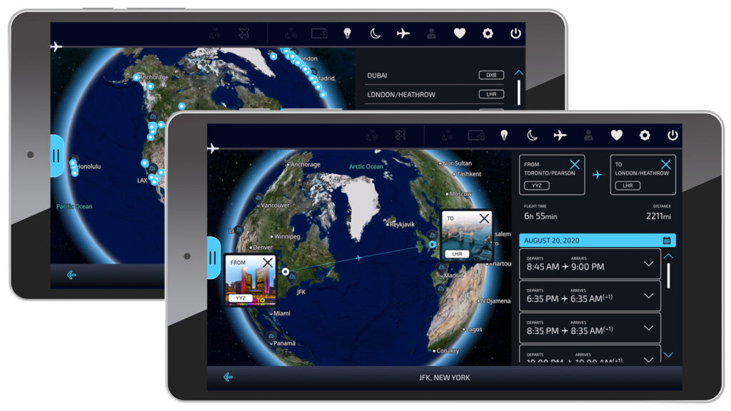 Two tablets featuring the FlightPath3D moving map