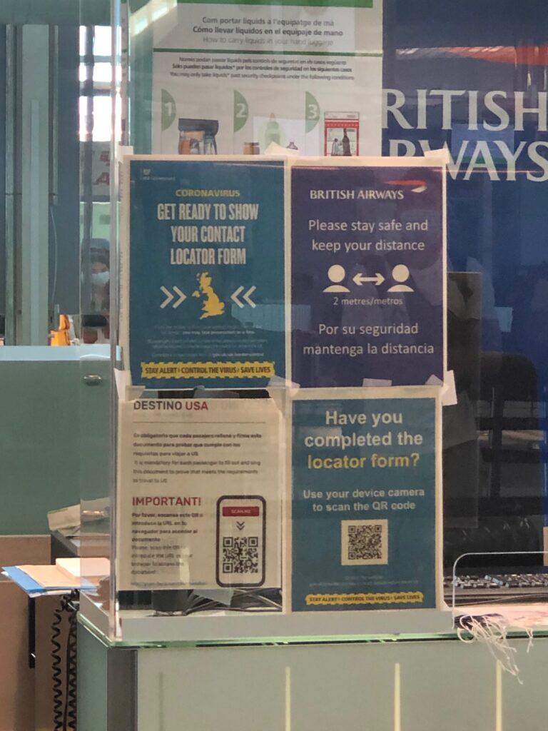 British Airway signage regarding all COVID rules