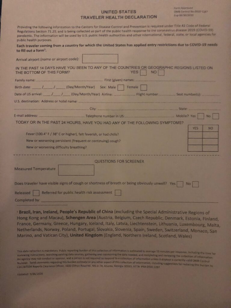 Health Decleration Form Europe US