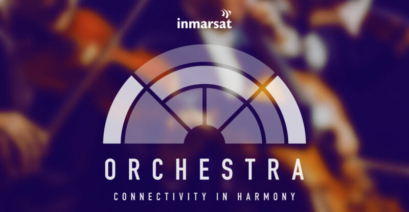 Patterned graphic with Inmarsat and Orchestra logo overlay.