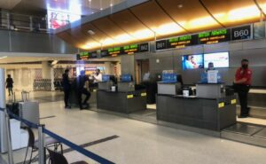 British Airways check in counter. Flying from LAX to Europe.