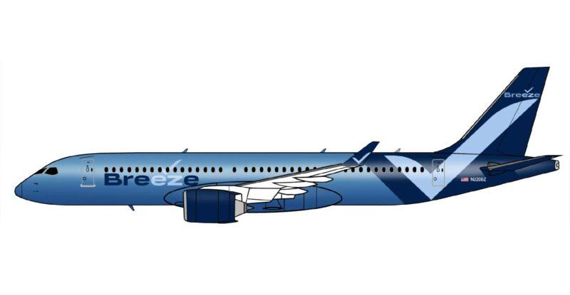 Rendering of Breeze Airways Airbus A220