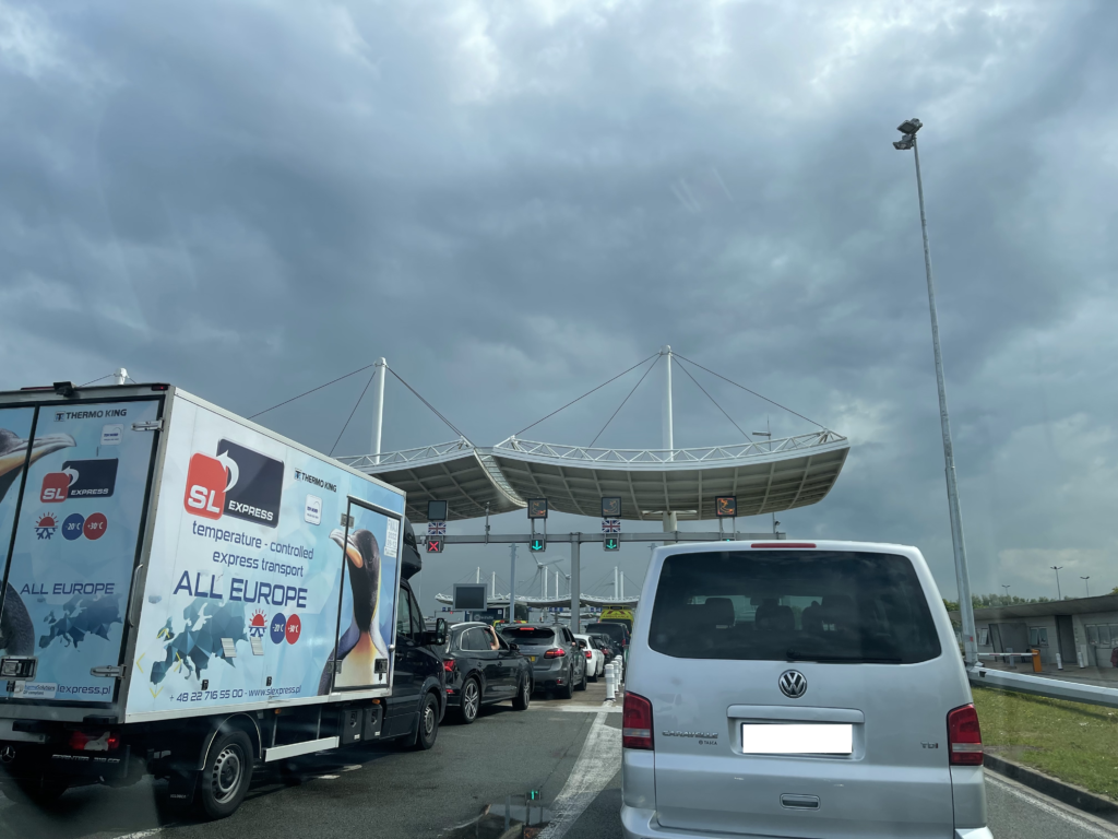 Cars lined up at Calais departure terminal