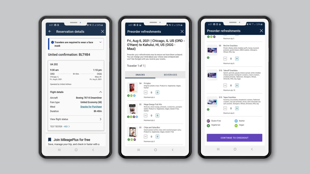 3 mobile devices on the pre-order landing pages for United.