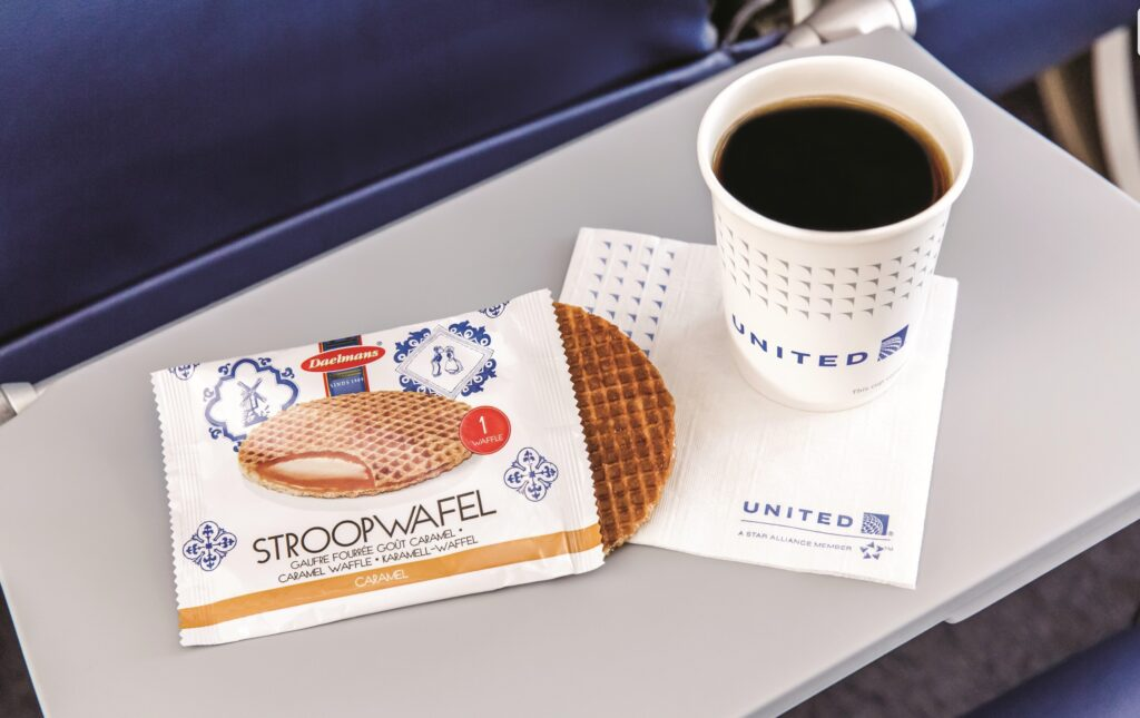 Coffee and a Stroopwafel on board United Airlines