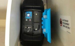 Bluebox's aircraft-powered W-IFE box in an overhead bin