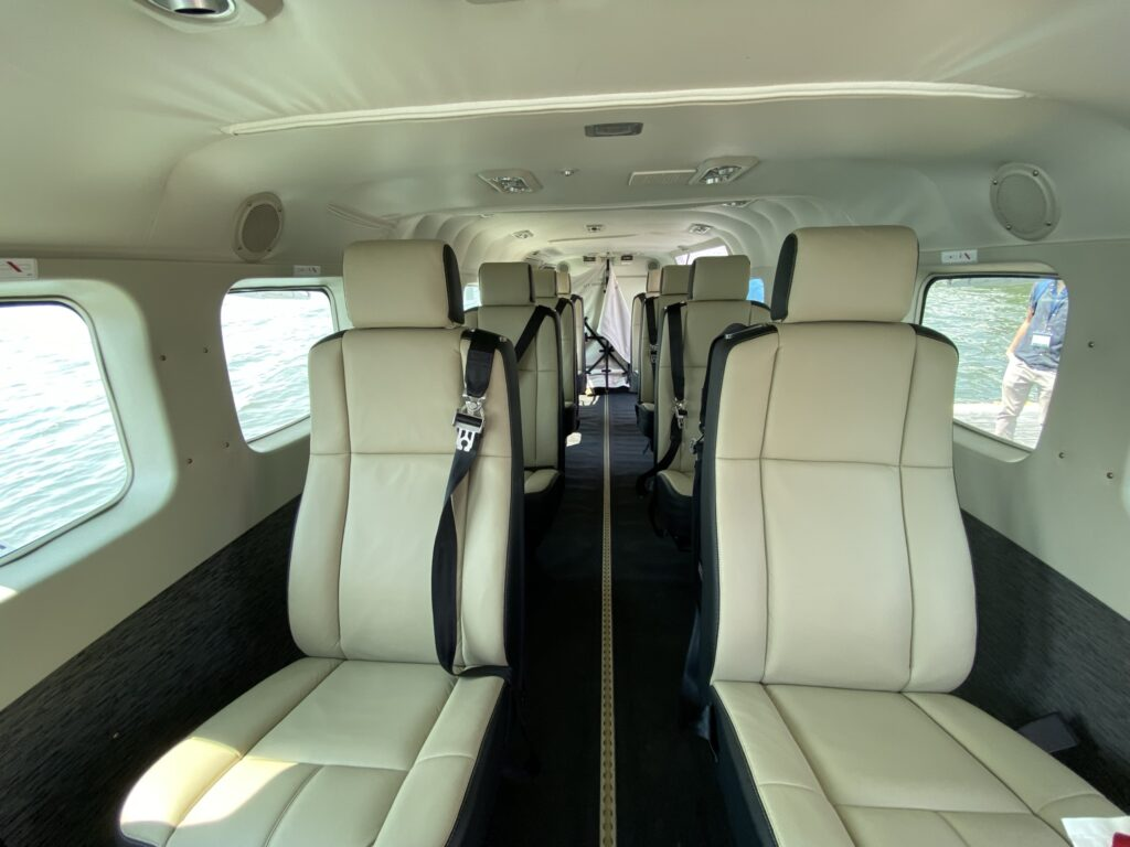 Interior of the Tailwind seaplane, with cream seats in 1-1 config