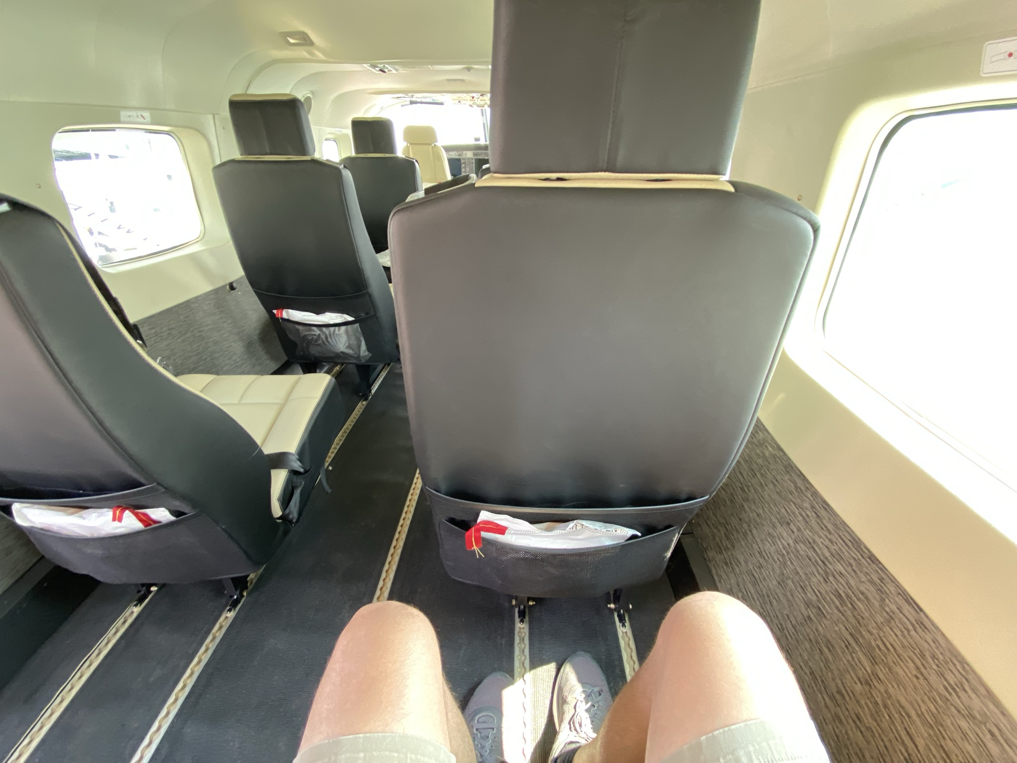 Interior of the Tailwind seaplane. The author's knees are shown in this pic as he is showcasing the ample legroom in front of him