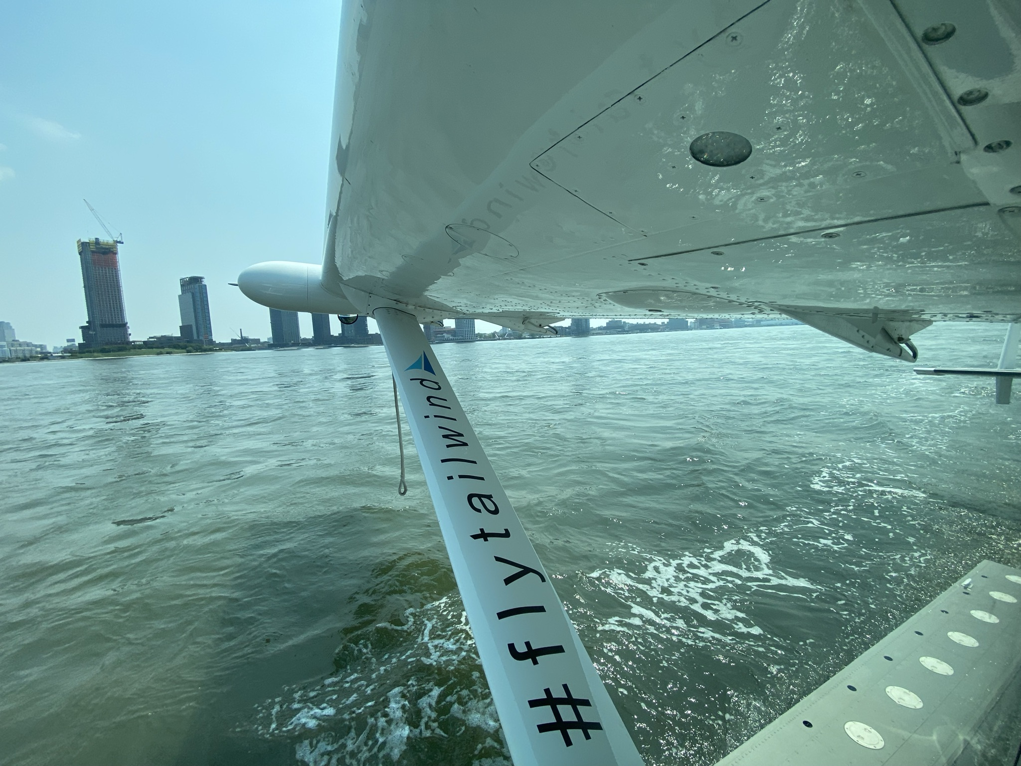 View from a Tailwind seaplane which has just landed on the water