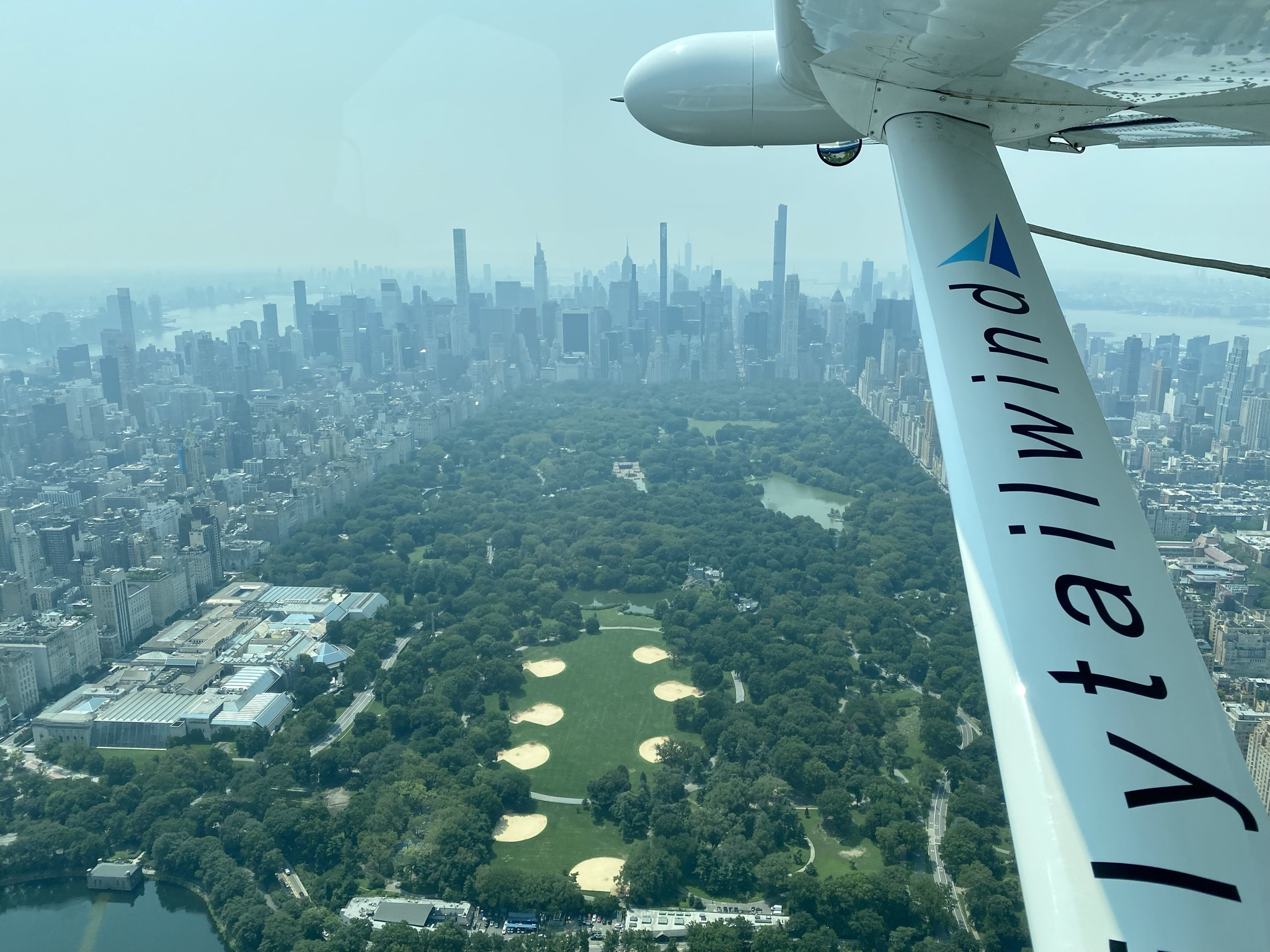 view from a Tailwind seaplane in flight.