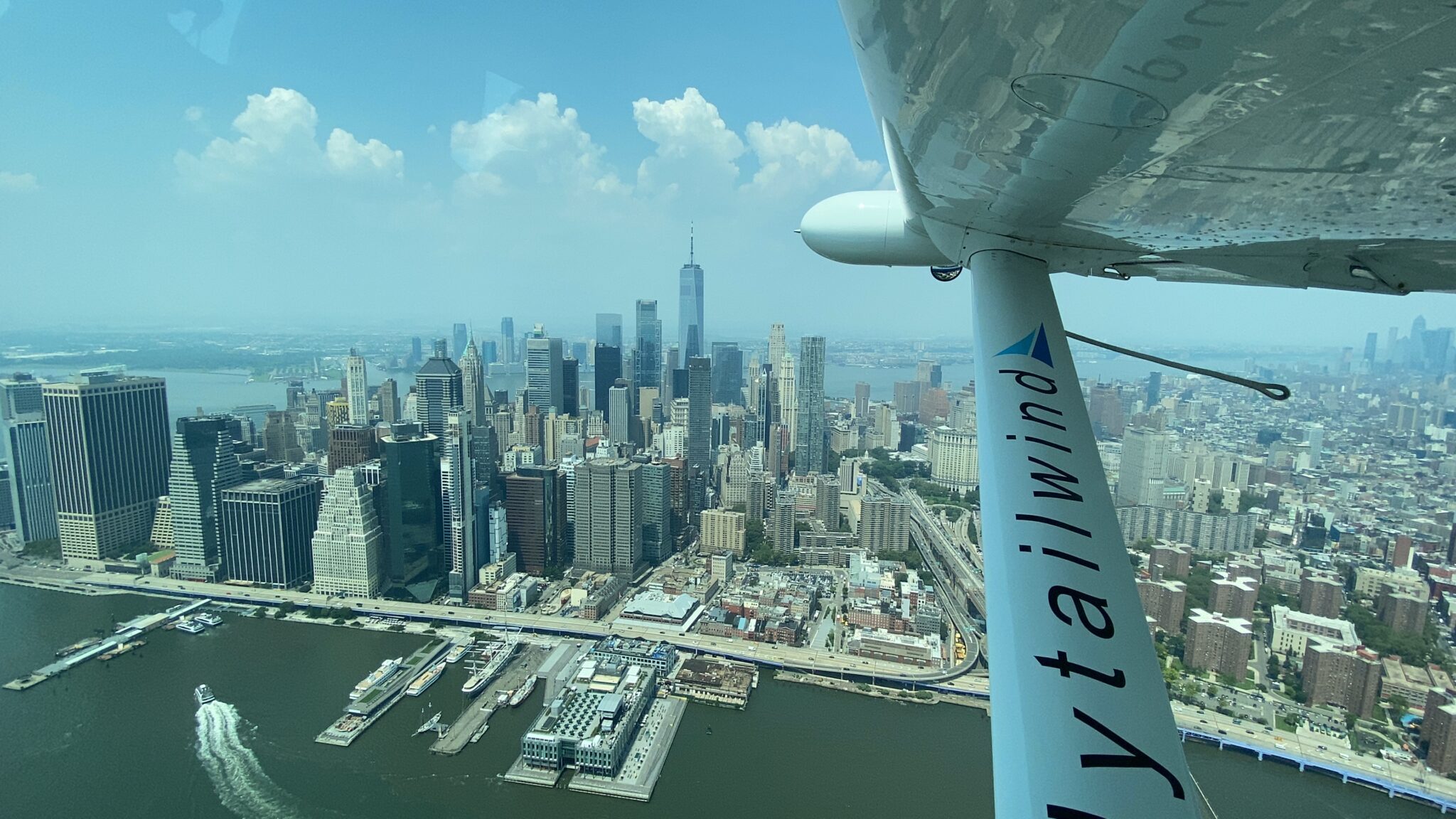 A glorious view from a Tailwind seaplane in flight over Manhattan