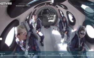 Virgin Galactic Unity 22 crew seated as they enter space.