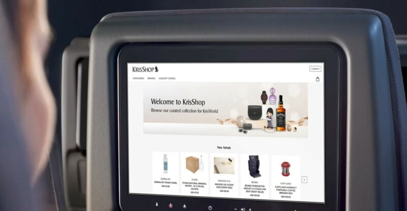 Singapore Airlines Thales IFE screen loaded to a shopping portal page.